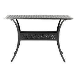 Ballard Designs - Amalfi Console - Coordinates with our Amalfi Outdoor Collection. Sand black finish resists rust and chipping. Extremely strong, yet light enough for easy placement. Assembly required. Use of an outdoor furniture cover is recommended to extend the life of your piece. Since each piece in the inviting Amalfi Collection is crafted of cast aluminum, the decoration can be more ornate and finely detailed. The Console features an intricate basket weave design with a rich 3-dimensional look. And because cast aluminum is extremely strong and much lighter than it looks, this Console places easily and yet feels reassuringly sturdy. Amalfi Console features: . . . . .