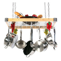 Rogar - The Gourmet Wood and Metal Rectangle Pot Rack with Grid Multicolor - 4136 - Shop for Pot Racks from Hayneedle.com! The Gourmet Wood and Metal Rectangle Pot Rack with Grid has a metal hanging grid inside the wood frame. Metal hardware reinforcement at the corners lets the frame bear weight and adds a stylish touch. Use the grid to hang items and to store lids books or other cooking necessities. Choose from a combination of wood colors and metal finishes. (All options are subject to manufacturer availablity).This hanging rack includes eight butcher pot hooks four grid pot hooks four ceiling hooks and four lengths of 18-inch chain all in the coordinating metal finish of your choice. These pot racks are manufactured in the U.S.A. and come with hanging instructions.About Rogar InternationalThis product is made by Rogar International. Since 1975 Rogar has designd manufactured and marketed top quality products. By focusing on fine craftsmanship unique products and innovative packaging Rogar has become a leader in the sales of antique-style wine openers hanging and wall-mounted pot racks and other fine products. The company was founded in Abilene Texas and today manufactures its high quality products in Richmond Virginia.