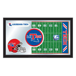 "Holland Bar Stool - Holland Bar Stool Louisiana Tech Football Mirror - Louisiana Tech Football Mirror belongs to College Collection by Holland Bar Stool The perfect way to show your school pride, our Football Mirror displays your school's symbols with a style that fits any setting.  With it's simple but elegant design, colors burst through the 1/8"" thick glass and are highlighted by the mirrored accents.  Framed with a black, 1 1/4 wrapped wood frame with saw tooth hangers, this 15""(H) x 26""(W) mirror is ideal for your office, garage, or any room of the house.  Whether purchasing as a gift for a recent grad, sports superfan, or for yourself, you can take satisfaction knowing you're buying a mirror that is proudly Made in the USA by Holland Bar Stool Company, Holland, MI.   Mirror (1)"