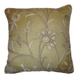 Crewel Fabric World - Crewel Pillow Tree of Life Neutrals on Beige Silk Organza 16x16 Inches - Hand embroidered with 100% wool on cotton base