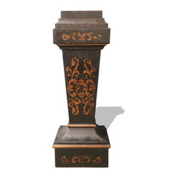 Koenig Collection - Old World French Pedestal Accent Table, French Black With Scrolls - Pedestal Accent Table, French Black with Maroon and Scrolls