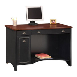 Bush - Stanford Computer Desk with Keyboard Tray - Combining traditional detail and contemporary functionality, the Stanford Collection's casual styling is a comfortable addition to any home. This computer desk not only complements the decor of a room but serves your writing and storage needs. With a stain resistant work surface and concealed CPU storage, this is a great purchase! Features: -Computer desk.-With keyboard tray.-Concealed CPU storage and wire access.-Pencil drawer with drop-down front also serves as a keyboard shelf.-Antique-style metal drawer pulls.-Box drawer for storage of supplies and miscellaneous items.-Knee well storage shelf for supplies or peripherals.-Accepts hutch WC53919.-Wood laminate construction.-Stanford collection.-Top Finish: Hansen cherry.-Base Finish: Antique black.-Powder Coated Finish: No.-Top Material: Engineered wood.-Base Material: Engineered wood.-Hardware Material: Metal.-Non-Toxic: No.-Stain Resistant: Yes.-Distressed: No.-Collection: Stanford.-Eco-Friendly: No.-Cable Management: Cord access / Tack glides.-Keyboard Tray: Yes.-Height Adjustable: No.-Drawers Included: Yes -Number of Drawers: 3.-File Drawer: No.-Drawer Glide Material: Metal.-Drawer Glide Extension: Full extension glides.-Locking Drawer: No.-Joinery Type: Dovetail.-Drawer Handle Design: Pulls..-Pencil Drawer: Yes.-Jewelry Tray: No.-Exterior Shelving: Yes -Number of Exterior Shelves: 1..-Cabinets Included: No.-Ergonomic Design: No.-Handedness: Both.-Scratch Resistant: No.-Chair Included: No.-Legs Included: No.-Casters Included: No.-Hutch Included: No.-CPU Storage: Yes.-Built In Outlet: No.-Built In Surge Protector: No.-Light Included: No.-Finished Back: Yes.-Compatibility: Accepts hutch WC53919-03.-Commercial Use: No.-Country of Manufacture: United States.-Weight Capacity: 286 lbs.-Solid Wood Construction: No.-Swatch Available: Yes.-Recycled Content: No.Specifications: -FSC Certified: No.-EPP Certified: No.-ISTA 3A Certified: No.-General Conformity Certificate: N