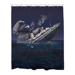 Sharp Shirter - Sharp Shirter Sloth Titanic Shower Curtain - This curtain is printed in USA!. Hooks sold separately. Disclaimer: If you order multiple items, they may ship from separate locations.