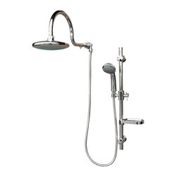 Pulse - PULSE 1019 ShowerSpas Chrome Shower System - Aqua Rain Shower Spas - The Aqua Rain shower system replaces your existing shower head with an oversized rain shower head adjustable slide bar with soap dish and multi-function hand shower with no tangle hose. The integrated dual-function diverter allows you to use each function independently or in combination. Adding style convenience and function to your shower has never been easier.