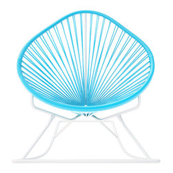 Acapulco Rocker, White Frame With Blue Weave - Sit back and relax in this classic woven rocking chair. The iconic pear-shaped seat is perfect for enjoying the backyard, but looks equally stylish inside the home. Order from a rainbow of colors for a pop of personality or stay cool with classic black and you can't go wrong.