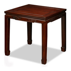 China Furniture and Arts - Rosewood Chinese Key Design Lamp Table - Exquisite in its simplicity, this Ming style lamp table will complement virtually any contemporary setting. Chinese key design is intricately carved on the edges. Made of solid rosewood using traditional joinery technique by artisans of China. Hand applied rich mahogany finish.