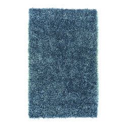 """Surya - Surya Shimmer Hand Woven Blue Plush Polyester Rug, 18"""" x 18"""" - If you are looking for a shag that can make your room shine, the rugs of the Shimmer collection are exactly what you want. Hand-woven polyester in striking, metallic shades, each piece is full of luminous movement and energy. The combination of innovative style and cutting edge design make these rugs the perfect accent for a transitional or contemporary setting. Imported.Material: 100% PolyesterCare Instructions: Blot Stains"""