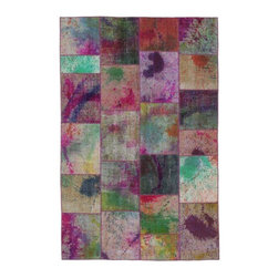 """Pre-owned Multicolor Handpainted Turkish Patchwork Carpet - Splashes of hand painted bright color on vintage pieces mix to make this hand woven, naturally distressed vintage rug. Full cotton backing and decorative blanket stitch edging.    Remnants of vintage wool on a cotton warp, made entirely by hand in the '60's through '80's when Turkish women still included weaving in their daily homemaking chores. Employing the sturdy double knot technique unique to Turkish rugs, multicolor floral and medallion motifs were created a row at a time using bright hand dyed wools. Considered too old fashioned for modern Turkish homes in their traditional incarnations, these rugs have languished in back rooms of the bazaars‰Ű_until now, as these fragments in excellent condition are overdyed and combined to create modern patchwork statements for the floor.    Note from the seller: """"Our revitalization process keeps rugs that may otherwise get tossed out of landfill. Repurposed discards are helping artisans connect and create, supporting the community we're building here in Istanbul to revive vanishing traditional fiber crafts.‰Űť    Please note that all sales are final - These amazing rugs are coming direct from Istanbul, Turkey and returns will not be allowed."""