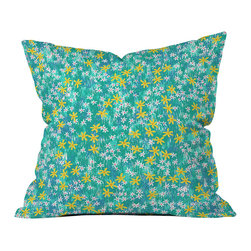 DENY Designs - Joy Laforme Wild Daisies Outdoor Throw Pillow - Do you hear that noise? it's your outdoor area begging for a facelift and what better way to turn up the chic than with our outdoor throw pillow collection? Made from water and mildew proof woven polyester, our indoor/outdoor throw pillow is the perfect way to add some vibrance and character to your boring outdoor furniture while giving the rain a run for its money.