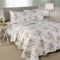 Laura Ashley - Laura Ashley Arundel Cotton 3-piece Quilt Set - Dress your bed in elegance with the Laura Ashley Arundel quilt set featuring a floral pattern in a multicolored finish. Constructed of 100-percent cotton,this set is available in twin,full/queen and king dimensions.