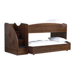 Standard Furniture - Standard Furniture Parker Storage Loft Bed w/ Trundle in Brown Cherry - Parker Bedroom offers the perfect solution for rooms that have a smaller footprint, yet still need lots of storage.  - 65993-LBT.  Product features: Design features include clean case profiles, lipped drawers with step shaped edges, smooth base line cuts and rounded top crowns; Parker's mid- height Loft Bed allows a twin size sleeping area up top with the Dresser and Bookcase fitting beneath, all in the same compact floor space; For safety there is a sturdy built-in side rail and stair unit with nonslip tread surface to access the loft sleeping area, which allows extra drawer storage within the stair end panel; For clothing storage there is a Double Dresser with Vertical Mirror, and a 5-Drawer Chest; Plus, there is a Bookcase cubby that doubles as an open Nightstand for the bedside; Twin and Full Size Panel Beds are also available, and have rounded tops that coordinate with the Vertical Mirror; Parker has sturdy folded case construction of durable engineered wood products with a warm golden brown cherry finish on pine grained laminate veneers; Its hardware is a wooden knob with a brushed nickel insert. Product includes: Rails w/ Slat Roll (1); Loft Stairs w/ Storage (1); Trundle w/ Slat Roll (1). Storage Loft Bed w/ Trundle in Brown Cherry belongs to Parker Collection by Standard Furniture.
