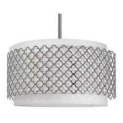 Kathy Kuo Home - Moreau Hollywood Regency Glass Silver Pattern Pendant Light - This luminous light shines down from above through a circular white drum shade with silver quatrefoil detailing. The understated design is suspended from the ceiling by a single, silver rod for a slim silhouette that casts a warm, romantic glow on your glamorous surroundings.