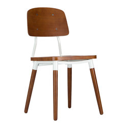 Walnut Knee-High Chair - Here's a mid-century inspired chair you can depend on to be sturdy and handsome for years to come. Whether used in a dining set, office chair, or stand-alone, its multi-textured beech wood frame dresses up this chair for any occasion.