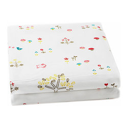 """Auggie - Auggie Rabbit Patch Crib Sheet - This sweet forest of flowers, birds, bunnies and mushrooms is a gender neutral favorite which coordinates with Auggie's fern and ocean bedding. 100% Cotton, 200 thread count. Made in India. L52"""" x W28"""" x D8"""""""