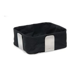 Blomus - Desa Large Bread Basket in Black - Removable fabric lining included. Made of stainless steel and cotton. Designed by Floz Design. 1-Year manufacturer's defect warranty. 10.24 in. L x 10.24 in. W x 4.33 in. H