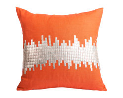 Pyra & Co - Janagali Tangerine Pillow, 16x16 - Intricately hand-sewn metal tiles in silver against a lipstick-orange linen is reminiscent of the city's ever growing skyline. A soft and enveloping linen allows the intriguing Janagali to transcend both modern and traditional living spaces. Due to the handmade nature of each product, pieces may vary slightly and have imperfections.  These are elements that showcase the true beauty of truly being crafted-by-hand.