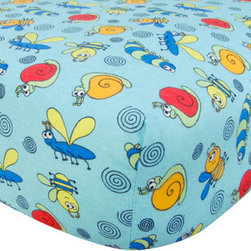 """Trend Lab - Crib Sheet - Bug Print Flannel - Your child's bed will be soft and cozy with this Bug Print Flannel Fitted Crib Sheet by Trend Lab. Sheet features a scatter print of bumble bees, snails, caterpillars, dragonflies, and swirls in sage, robin's egg blue, red hot, lemon, cream, and black on a scuba blue background. Sheet features 7"""" deep pockets and fits a standard 52"""" x 28"""" crib mattress. Elastic around entire opening and elastic sheet straps sewn in each corner ensures a more secure fit. Coordinates with the Animals collection by Trend Lab."""