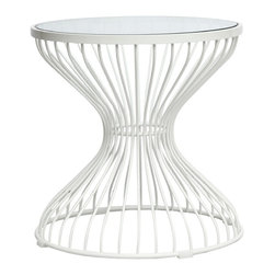 Lemoderno - Fine Mod Imports  Squeezed Side Table, Glass - This classic table will surely make quite a statement as the focal point of your dining room. The Table Designed in 1966, is truly a unique piece. Considered by many to be a design icon of the modern era, the Wire Side Table's harmonious forms are created by welding curved vertical steel wire rods to circular frames, producing a moir� effect. Decorative, gentle and graceful, the Wire Side Table is truly one of a kind. An elegant latecomer to the mid-century modern movement Steel wire base Glass Top   Assembled