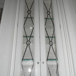 Leaded Glass Gallery Doors - Elegance shot of the upper gallery. Glassworks Studio