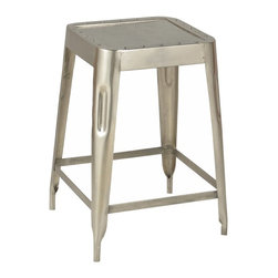 CDI International Furniture - Modern Industrial Medium Bar Stool - Nickel - Set of 4 Multicolor - BA1113MNC - Shop for Stools from Hayneedle.com! Comfort and Euro bistro style always have a seat at your bar with the Industrial Medium Bar Stool - Nickel - Set of 4. This set includes four bar stools made of lightweight yet durable metal. Their sleek design with riveted seats and tapered legs works well with modern or industrial chic bars. The stools are artisan crafted and hand-finished in modern nickel.About CDI InternationalCDI International is based in Montreal Canada's fashion capital. They adore home furnishings that embody high fashion and are made of the finest materials. CDI International is one of the most reputable home furnishing suppliers in the market. They strive to provide customers with well-designed quality products at a fair price. CDI International prides itself on staying on the cutting edge of design trends. Their designers travel the world to see first-hand the materials and trends around the globe.Not just impeccably crafted and stylish home goods and furniture CDI International also strives to be environmentally responsible. They work to reduce their ecological footprint. Their goal is to offer designer sofas with a simple manufacturing process that is also eco-friendly. They encourage their factories and transportation services to maintain the highest standards of green environmental living.