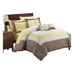 Chic Home - Duke Yellow White and Taupe King 10 Piece Comforter Bed in a Bag Set - All your needs to add simple elegance to any bedroom decor are find in this 10-piece comforter set. A beautiful pieced color block design comforter with decorative pillows and a complete sheet set all in one set!!! All made from beautiful peach skin microfiber fabric that will make those overpriced $1000 bedding sets feel so jealous.