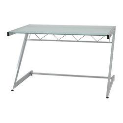 Eurostyle - Z Deluxe Desk-Medium+Shelf-Al/Frs - Aluminum powder, epoxy coated steel frame