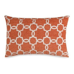Spencer N. Enterprises - Linked Tile Rust Oblong Toss Pillow - Liven up any room in your home with this classic linked-tile pattern toss pillow. Its beautifully textured fabric and lush color will add just the right visual pop to your home's décor.