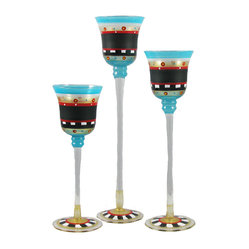 Golden Hill Studio - Mosaic Chalk Candlesticks, Set of 3 - Yet another highlight of your fabulous dinner party? These high-rise votives that lift the candlelight above your collection of dinner dishes, allowing the color to radiate across the table.