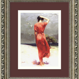 Amanti Art - Beachside Stroll Framed Print by Pino - There is seemingly nothing more beautiful than subtlety. This striking image of a lone woman strolling on the beach is steeped in the nothing more than the subtle beauty of her figure against the humbling backdrop. This custom-framed image is so entrancing that you can't help but want to tiptoe around it for fear of disturbing her thoughts.