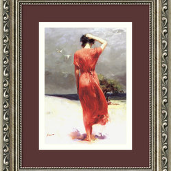 Beachside Stroll Framed Print by Pino