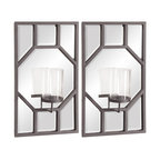 Howard Elliott - Titanium Metal Octagonal Design with Glass Hurricane (Set of 2) - Titanium Metal Octagonal Design with Glass Hurricane (Set of 2).
