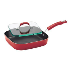 Rachael Ray - Rachael Ray Hard Enamel Nonstick 11 in. Square Deep Griddle and Glass Press - Re - Shop for Griddles & Grill Pans from Hayneedle.com! Grill up sammies the whole gang will love with the Rachael Ray Hard Enamel Nonstick 11 in. Square Deep Griddle and Glass Press - Red. Complete with a solid shatter-resistant glass sandwich press this deep skillet is the perfect way to make crowd pleasers like ham and cheese paninis or a hot artichoke turkey sandwich. The pan also features a durable aluminum construction that promotes even heating helping to reduce hot spots that can burn foods and a sturdy colorful porcelain enamel exterior. Long-lasting nonstick provides superior food release making cleanup a snap even after making cheesy Panini sandwiches. Its colorful grippy handle offers a comfortable grasp and is dual riveted for extra strength. Oven safe to 350 degrees fahrenheit the griddle and press are dishwasher safe for your convenience. Additional Features Dual riveted handle for added strength Handle is also comfortable to grasp Dishwasher safe for your convenience Lifetime Limited Warranty About Rachael Ray Cookware and CutleryRachael Ray means fun functional colorful cookware and cutlery inspired and endorsed by the TV personality herself. Express yourself through your cookware with these truly unique pieces made with high-quality materials like cast iron and bright enamel exteriors. These hard-working pieces are perfect for all types of cooks from casual home users to commercial chefs and you'll love the way they look in your kitchen.