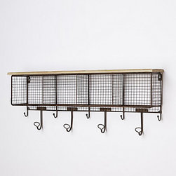 Anthropologie - Wire Wall Cubby - I would love to put this in the bathroom in place of a towel rod. Kids and hooks just go hand in hand. Plus, the cubbies can store toiletries, bath toys or rolled-up towels.