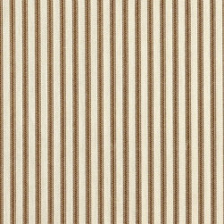 "Close to Custom Linens - 90"" Tablecloth Round Suede Brown Ticking Stripe with Gingham Topper - A charming traditional ticking stripe in suede brown on a cream background. 90"" round cotton tablecloth."