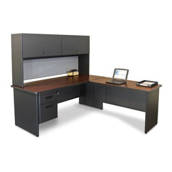 "Marvel Office Furniture - Pronto Computer Desk with Return - If you a looking for an office desk, front office desk, or computer desk, look no further than the Pronto office furniture systems by Marvel. Your office design will be easy with one of our office desk sets. With solutions for the home office or commercial furniture environment, the Pronto desk make it easy to work comfortably, our storage solutions help you to be more organized. Features: -Desk.-Durable melamine laminate tops.-Modesty panel with wire management.-Locks with 2 keys.-1 Hanging pedestals with box and file.-Made in USA.-Includes two 2'' grommets with full leg end panel.-Pronto collection.-Powder Coated Finish: Yes.-Gloss Finish: No.-UV Finish: No.-Top Material: Laminate.-Base Material: Metal.-Number of Items Included: 6.-Water Resistant: No.-Stain Resistant: No.-Heat Resistant: No.-Design: L-Shaped Desk.-Distressed: No.-Collection: Pronto.-Eco-Friendly: Yes.-Cable Management: Yes.-Keyboard Tray: No.-Height Adjustable: No.-Drawers Included: Yes -File Drawer: Yes.-Drawer Glide Material : Metal.-Drawer Glide Extension: Full Extension.-Safety Stop : Yes.-Soft-Close Drawer: No.-Locking Drawer: Yes.-Core Removable Drawer Locks: No.-Ball Bearing Glides: Yes..-Number of Drawer Pedestals: 1.-Pencil Drawer: No.-Jewelry Tray: No.-Exterior Shelving: No.-Ergonomic Design: No.-Handedness: Both.-Scratch Resistant: No.-Chair Included: No.-Legs Included: Yes -Number of Legs: 2.-Leg Material: Steel.-Leg Glides: No..-Casters Included: No.-Hutch Included: No.-Treadmill Included: No.-Modesty Panel: Yes -Modesty Panel Details: 3/4 Height..-CPU Storage: No.-Built In Outlet: No.-Built In Surge Protector: No.-Light Included: No.-Finished Back: No.-Tipping Prevention: No.-Modular: No.-Application: Office.-Commercial Use: Yes.-Country of Manufacture: United States.-Solid Wood Construction: Yes.-Wood Tone (Color: Oak Laminate/Putty): Light.-Wood Tone (Color: Mahogany Laminate/Dark Neutral): Dark.-Swatch Available: Yes.-Recycled Content: Yes.Specifications: -Green Guard Certified: Yes.Dimensions: -Overall Height - Top to Bottom: 65"".-Overall Width - Side to Side: 72"".-Overall Depth - Front to Back: 78"".-Desk Return: -Desk Return Height - Top to Bottom: 29"".-Desk Return Width - Side to Side: 48"".-Desk Return Depth - Front to Back: 24""..-Credenza: No.-Bridge: No.-Cabinet: No.-Drawer: No.-Shelving: No.-Seat: No.-Desktop Height: 29"".-Desktop Width - Side to Side: 72"".-Desktop Depth - Front to Back: 30"".-Knee Space Height: 27.75"".-Knee Space Depth: 30"".-Hutch: -Hutch Height - Top to Bottom: 36"".-Hutch Width - Side to Side: 72"".-Hutch Depth - Front to Back: 14""..-Legs: -Leg Height: 27.75""..-Overall Product Weight: 391 lbs.Assembly: -Assembly Required: Yes.-Additional Parts Required: No.Warranty: -Product Warranty: Lifetime."