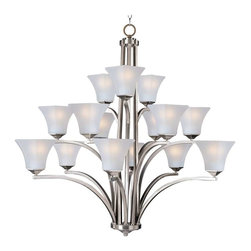 Maxim Lighting - Maxim Lighting Aurora 15-Light Chandelier Satin Nickel - 20097FTSN - Straight lines and curves make this contemporary series a classic. Square metal tubing finished in your choice of Oil Rubbed Bronze or Satin Nickel support tapered square Frosted glass shades.