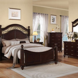 Acme Furniture - Cleveland Dark Cherry Finish 5 Piece King Bedroom Set - 21547EK - Set includes Eastern King Bed, Dresser, Mirror, Nightstand and Chest