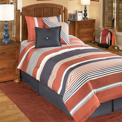 Signature Design by Ashley - Striped Youth Comforter Bedding Set (Twin) - Choose Size: Twin1 Oversized comforter. 1 Bed skirt (15 inch drop). 2 Pillow shams (1 Pillow sham in twin). 2 Decorative accent pillows. Machine washable