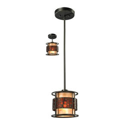 Z-Lite - Z-Lite Z8-50MP-C Milan 1 Light Mini Pendant - The Oak Park family finished in Java Bronze offers clean lines with simple, geometric forms to show true craftsmans styling. This 1 Light Mini Pendant is finished in Java bronze paired with White and Amber Micca.Features:
