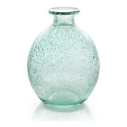 Mae Large Bud Vase - Effervescent soda glass bubbles sea-green, bottle-shaped vase.