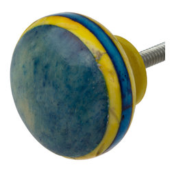 "GlideRite Hardware - GlideRite 1-1/2"" Painted Bone Striped Grooved India Cabinet Knob - Blue & Yellow - These absolutely gorgeous bone cabinet knobs from India are each unique to brighten up your kitchen or bathroom cabinets, and bring a personal touch to your house. These knobs will update any tired furniture or give your kitchen cupboards a glamorous makeover without the hefty price tag!"