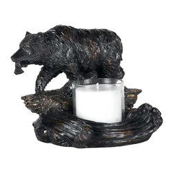 Cal Lighting - Bear w Fish Candle Holder in Antique Bronze F - Candle not included. Bear with fish candle holder. Height: 6.75 in.. Base: 8.75 in. x 6.38