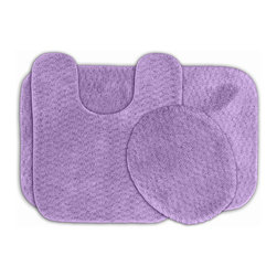 None - Enliven Amethyst Textured Bath Rugs (Set of 3) - Sophisticated yet durable, machine washable and soft, these Enliven textured rugs bring design and comfort to your bathroom. The bath mats are created from durable nylon with non-skid latex backing for safety.