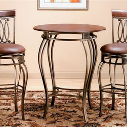 Hillsdale - Montello Pub Table Set in Old Steel Finish - This set is a great beauty by any standards. Bistro coziness brings many graceful flourishes that begin with the bowed table base and flows upward with back insets on the matching stools. Vintage style goes great with Victorian d̩cor schemes! This bistro set will really bring a classic look to your home that is seen and felt in the bistro table as well as the matching stools. Wooden table top is durable as well as sophisticated, and the matching swivel bar stools are thickly padded for comfort. * For residential use. Includes table and 2 bar stools. Table & stools old steel finish (like dull Silver Pewter). Table top made of compressed fiber board wood. Distressed Brown faux leather thick padded seat cushion for stool. Table: 34 in. Dia. x 40.5 in. H. Stools: 20 in. W x 18 in. D x 48.5 in. H. Seat height: 32 in. H Drama and style are defined in Montello Collection ensemble. Sweeping interlocking circles, intricate complimentary castings and elegantly curved legs combine to create a collection with grace, movement and elegance. Finished in a dynamic old steel with distressed Brown faux leather seats and Cherry wood accents, this table offers an exciting look second to none.