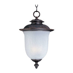 Maxim Lighting - Maxim Cambria EE 1-Light Outdoor Hanging Lantern Chocolate - 85199FCCH - Cambria EE is a transitional style, energy saving collection from Maxim Lighting Interior in Chocolate finish with Frost Crackle glass.