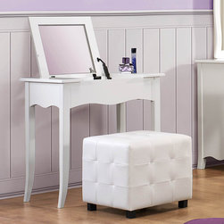 Homelegance - Homelegance Sparkle 2 Piece Vanity Set w/ Lift Top Mirror in White - The glamour girl in your life will swoon when she opens her bedroom door to the Sparkle Collection. Fashion forward and scaled to fit her needs  this trendy bedroom will make her the envy of all of her friends. White bi-cast vinyl is featured not only on the tufted headboard  but on the drawer fronts of each case piece and coordinating vanity and storage stools. Clear hardware is faceted for maximum sparkle and punctuates each drawer front. Matching vanity features a hidden mirror within the lift top storage area.