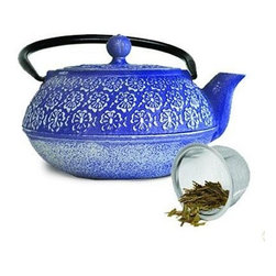 Epoca - Cast Iron 40 Ounce Teapot Blue - Premium's Japanese Blue Floral Cast Iron Teapot is reminiscent of Japanese cherry Stainless Steel.  This traditional blue teapot is as exquisite as it is durable.  Cast iron teapots are designed to deliver exceptional tasting tea every time.  They distribute heat more evenly, therefore enhancing the flavor of the tea leaves during the brewing process Stainless Steel.  The cast iron design also traps the heat inside, keeping your tea hot for up to an hour.  Premium's teapot has a distinctive floral pattern on the outside, a tall looped fold-down handle, a removable lid and a short curved spout.  Included is a loose tea mesh infuser that sits securely in the pot while the leaves are brewed.  The interior of the teapot is fully enameled which makes for easy care and cleaning, and helps prevent rust and oxidation.  This teapot holds 40 oz of your favorite hot tea.  Included is a packet of loose green tea so you can enjoy a delicious cup as soon as you open the box.