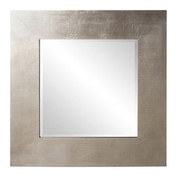Howard Elliott - Sonic Square Silver Contemporary Wall Mirror - Sleek. Sophisticated. Sonic. This modern wall mirror offers the onlooker understated beauty. Its streamlined aesthetic is composed of a square, wooden frame, expertly finished in silver leaf. This mirror is a stunning addition to any well-appointed modern or contemporary space - whether as a soloist or with a mate. A versatile piece of modern wall decor, Sonic will coordinate with any color scheme.
