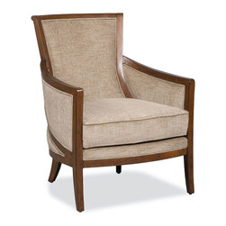 Hooker Furniture - Hooker Furniture Accent Chair in Felton Finish - This high back accent chair has a sleek design and smart curve wood accents. The frame is finished with Felton while the seat is upholstered with plush K-Doyle Fog fabric that can easily match your furnitures in any room. Features: Material: K-Doyle Fabric; Fabric Content: 100% Polyester. Style: Transitional. K-Doyle Fog Fabric. Finish: Felton.
