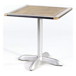 """Euro Style - Standard Height Aluminum Base Teak Top Indoor - It's the teak table top inset, though, that gives the table that extra touch of class to lift it above the everyday. The Shiraz table will complement and enhance any upscale contemporary d̩cor ensemble. The cool and classy Shelly Teak Top Table has a polished aluminum base and a 29"""" tall pedestal. Perfect for either home or restaurant use. The 27.5"""" square top features an attractive Teak wood insert. * Indoor/Outdoor 29 in. Table. Polished Aluminum Base. Square Top with Teak Insert. Some Assembly Required. 27.5 in. W x 27.5 in. D x 29 in. H"""